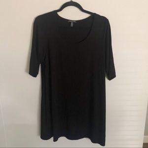 Eileen Fisher black scoop neck tunic top sz XL